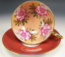 AYNSLEY HUGE PINK ROSES ORANGE TEA CUP AND SAUCER TEACUP