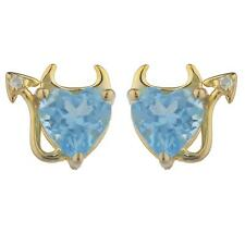 14Kt Gold Blue Topaz & Diamond Devil Heart Stud Earrings