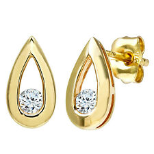 Naava 9ct Yellow Gold Teardrop 0.15ct Diamond Earrings - (PE01803Y)