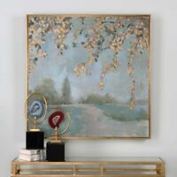 """FRENCH FARMHOUSE XXL 37"""" PEACEFUL HAND PAINTED CANVAS GOLD LEAF FRAME WALL ART"""