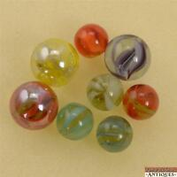 Lot of 8 Japanese Pinch Pontil Marbles Cat's Eye Cages 2 Have Iridescent Shine!