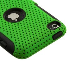 Green MESH Hybrid Hard Silicone Rubber Gel Skin Case Cover Apple iPod Touch 4