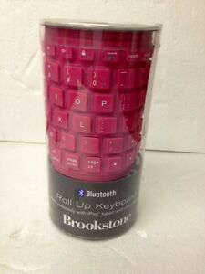Brookstone Bluetooth Silicone Roll Up Keyboard for iPad Tablet Model 789725 Pink
