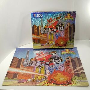 Vintage Mighty Morphin Power Rangers Megazord COMPLETE 100pc HOLO PUZZLE 1994 MB