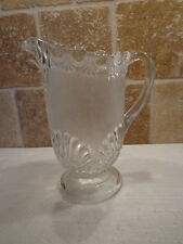 Vintage Depression Clear Glass FROSTED PITCHER Shell Drop Design Pattern