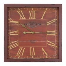 Yosemite Home Décor Square Wooden Wall Clock, Red Frame - CLKA1B951