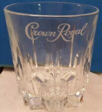Crown Royal Whiskey Glass Cut Glass Bottom - Italy - White Crown Logo 10 Fl. Oz.
