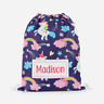 Personalised Unicorn & Rainbows Girls Kids Drawstring Bag PE Swimming School Bag