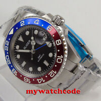 40mm BLIGER black dial GMT sapphire glass date window automatic mens watch P521