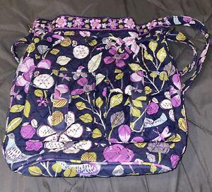 Vera Bradley Floral Nightingale Birds Drawstring Purple Bag Retired