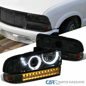 For 98-04 Chevy S10 Blazer Smoke Projector Headlights+Tinted LED Bumper Lamps
