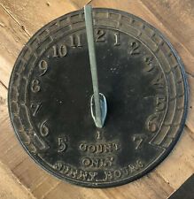 """Cast Iron Virginia Metalcrafters Garden Sundial """"I Count Only Sunny Hours"""""""