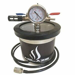 ABLAZ Small Mini 1.5 Quart Vacuum Chamber Stainless Steel Degassing Urethane...