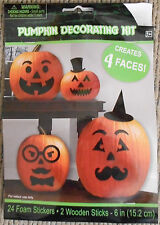 Pack of 4 Faces. 24 Self Adhesive Foam Stickers Pumpkin Decorating Kit