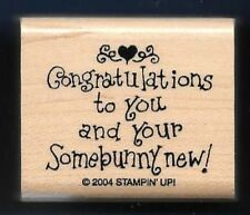CONGRATULATIONS TO SOMEBUNNY NEW baby shower card word Stampin' Up! RUBBER STAMP