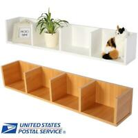 Wooden Modern Wall Mount Display Shelf CD/DVD Organizer Storage Rack Home Decor