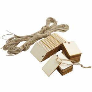 50 x Holz Anhänger Geschenkanhänger Baumscheiben zum Basteln Hochzeit Deko 5x3cm