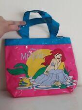 Vtg Disney The Little Mermaid Pink & Blue Kid Plastic Vinyl Purse Ariel Flounder