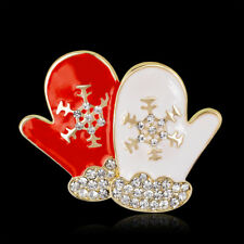 Christmas Red and White Glove Gold Plated Rhinestone Crystal Pin and  Brooch