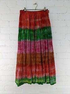 Gringo Fairtrade Bright Tie Dye Long Elasticated Flared Skirt - Ex-Sample/Hole