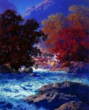 Red Trees, Blue Stream  by Maxfield Parrish