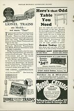 1925 Lionel Electric Trains Ad Models, not Toys Railroad Railway
