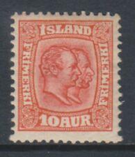 Iceland - 1907/8, 10a Scarlet stamp - m/m - SG 86