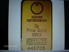 Gold Barren 2 g, Münze Österreich, fein Gold 999,9, Feingewicht 2g, Symbolfoto
