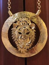 Chunky Statement Lion Pendant Necklace and Chain in Gold Tone
