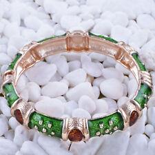 New Gold Plated Emerald Green & Copper Enamel Fashion Jewelry Bangle Bracelet