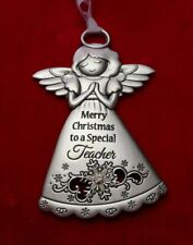 """NEW Embellished Guardian Angel Ornament """"Merry Christmas Special Teacher"""" (Ganz)"""