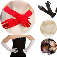 3 Colors Women's Over Elbow Gloves Black White Red Long Satin Stretch Gloves