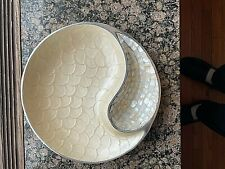 JULIA KNIGHT CHIP & DIP SERVING BOWL Yin Yang Aluminum MSRP $165 Mother Pearl