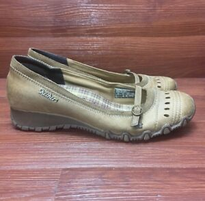 Skechers Brown Leather Mary Jane Low Wedge Slip On Shoes 8.5