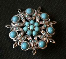 & Marcasite Brooch Vintage Silver, Turquoise