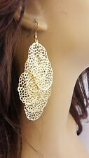 GOLD EARRINGS DANGLE CIRCLE FILIGREE GOLD TONE EARRINGS 4.25 IN L FANCY EARRINGS