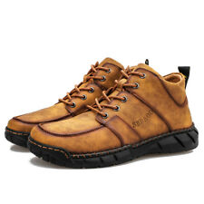 Men's High-top Sole Leather Casual Shoes Martin Boots Outdoor Fashion Sneakers