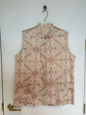 Dressy Men's Or Women's Ikat 100% Silk Lined Nehru Vest Ivory XL