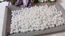 100 Perlen weiß 8mm Wachsperlen Auffädeln Hochzeit Kommunion Perle Loch Deko