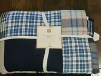 New Pottery Barn Teen Maritime Madras Patchwork Blue Plaid Quilt F/Q Full Queen