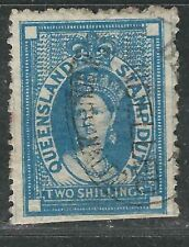 Queensland Stamps Ar21 Sg F19 2sh Blue Used F/ Cut Perfs Vf 1872 Scv $140.00