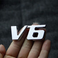 1 Pcs UNIVERSAL V6 Car Van Emblems Chrome Metal 3D Silver Badge Self Adhesive