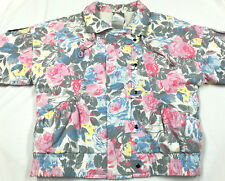 Vintage Insualted Jacket Zip Bomber Floral Women's Size L HONG KONG NEW