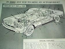 1967 FORD MUSTANG SHELBY COBRA GT 500 ORIGINAL AD - GT500/350 289/428 v8 engine