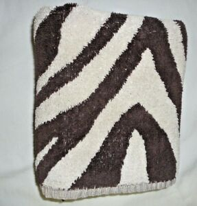VINTAGE RALPH LAUREN ZEBRA SAFARI BROWN ANIMAL (1) HAND TOWEL 16X29 MADE U.S.A.