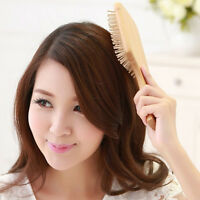 Wooden Comb Vent Paddle Brush Keratin Health Hair Care Massage Anti Static FG