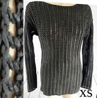Black Rope mesh dress sweater tunic XS gothic sheer faux leather steampunk sheer