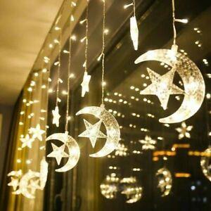 Twinkling Star Moon LED Curtain Lights Ramadan Eid Mubarak Fairy String Light