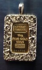 SUISSE CREDIT 10 G. FINE Gold 999.9 SUPER VERY HEAVY Nugget 14K PENDENT