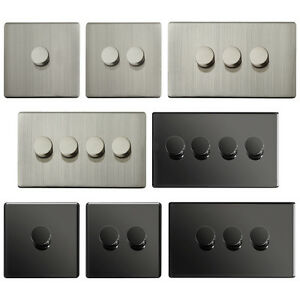 LED Dimmer Switch Turn on / off Brushed Chrome or Black Nickel 1 2 3 or 4 Gang